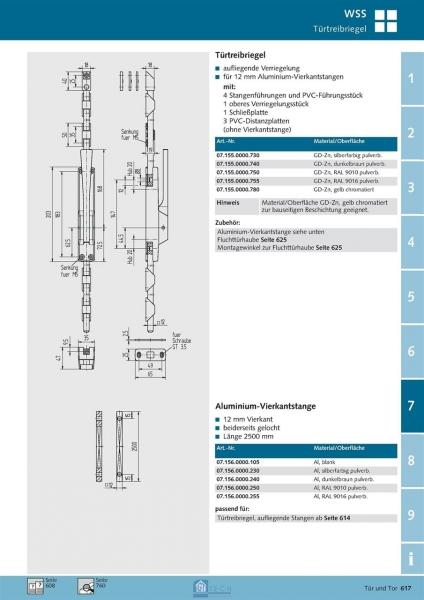 Aluminium-Vierkantstange 2500 mm lang - WSS 07.156.0000.105