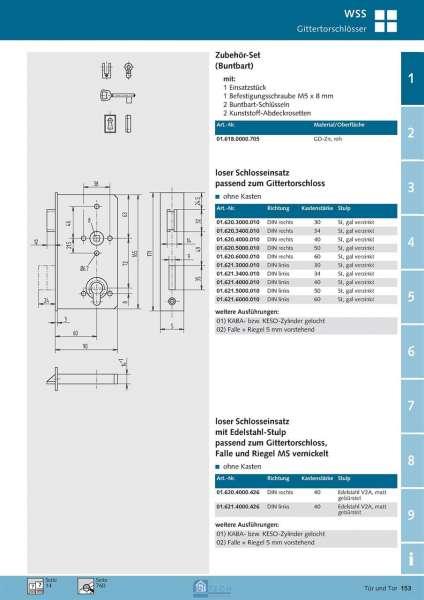 loser Schlosseinsatz, ohne Kasten, 60 mm Dorn, 34 mm Kst., DIN Links - WSS 01.621.3400.010