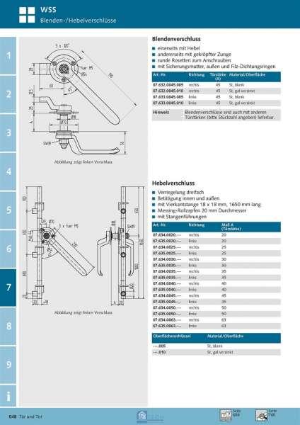 Hebelverschluss links, TS 40 mm - WSS 07.635.0040.010