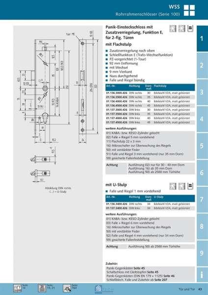 Panik-Einsteckschloss mit Zusatzverriegelung, Funktion E, 2 flg., 45 mm Dorn, DIN Rechts - WSS 01.1