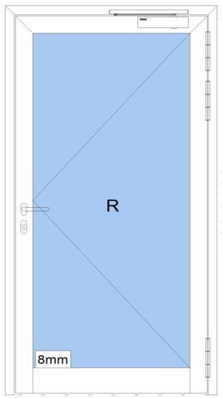 Rauchschutztüre RS - IA - Breite: 900 mm Höhe: 2100 mm - heroal D 65 SP - Innenanwendung - Aluminium