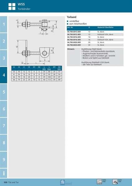 Torband 16 mm Bolzen - WSS 04.700.0016.005