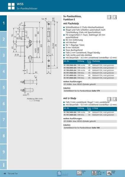 Sv-Panikschloss 1-flg., Funktion E, 40 mm Dorn, DIN Rechts - WSS 01.150.4000.426