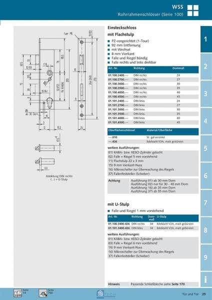 Einsteckschloss, 8 mm Vierkant, 40 mm Dorn, DIN R/L - WSS 01.100.4000.426