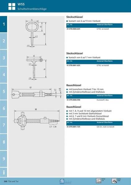 Steckschlüssel 6 auf 7 mm Vierkant - WSS 01.978.0001.625
