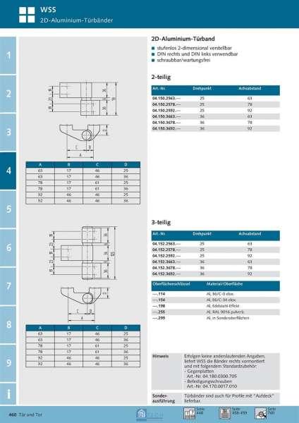 2D Aluminium-Türband, 2-tlg., mit Zubehör 25 mm DP/63 mm Achse, DIN Rechts - WSS 04.150.2563.255.01