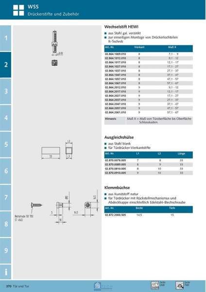 Ausgleichshülse 8/10 mm - WSS 02.870.0810.005
