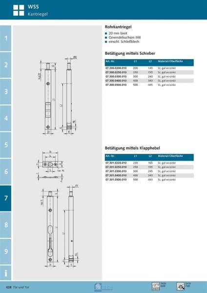 Rohrkantriegel 300mm Betätigung mittels Klapphebel - WSS 07.301.0300.010