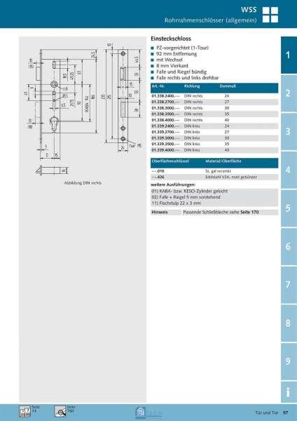 Einsteckschloss, 8 mm Vierkant, Falle und Riegel bündig, 30 mm Dorn - WSS 01.338.3000.427
