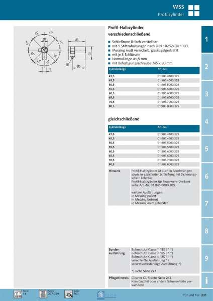 Profil-Halbzylinder gleichschließend - WSS 01.906.4100.325