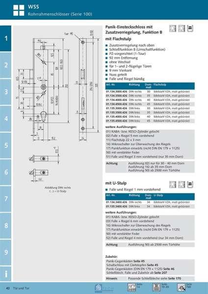 Panik-Einsteckschloss mit Zusatzverriegelung, Funktion B, 35 mm Dorn, DIN Links - WSS 01.135.3500.4