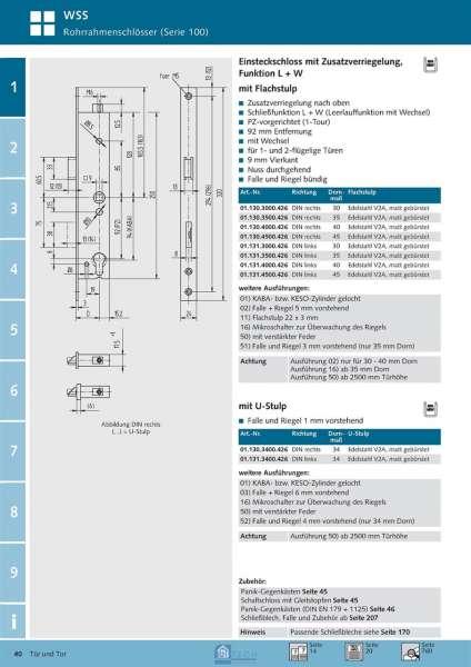 Einsteckschloss mit Zusatzverriegelung, Funktion L+W, 35 mm Dorn, DIN Rechts - WSS 01.130.3500.426