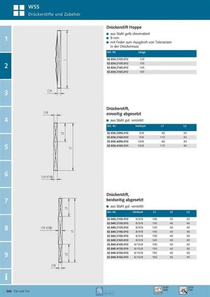 Drückerstift Hoppe 9 mm Vierkant - WSS 02.834.2125.012