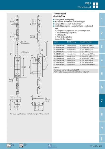 Türtreibriegel - abschließbar rechts drehend - WSS 07.152.0000.255