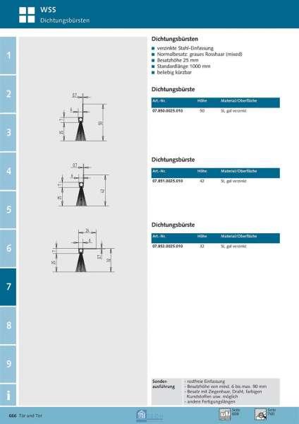 Dichtungsbürste 1000 mm - WSS 07.850.0025.010