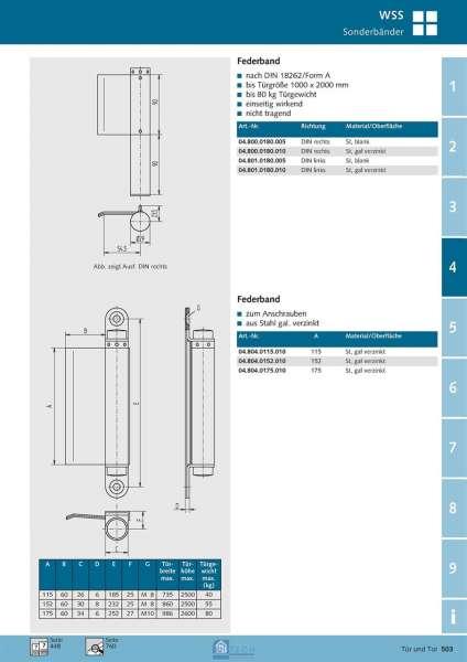 Federband 180 mm, DIN Rechts - WSS 04.800.0180.010