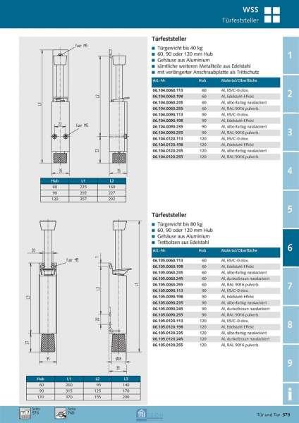 Türfeststeller 120 mm Hub - WSS 06.105.0120.198