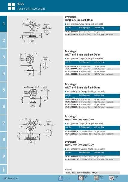 Drehriegel 12 mm Dreikant-Dorn - WSS 01.926.1012.774
