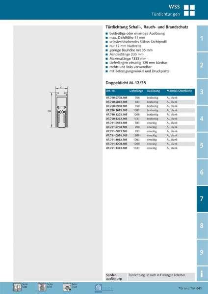 Türdichtung Doppeldicht M-12/35 958 mm, einseitig - WSS 07.761.0958.105