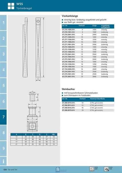 Steinbuchse für 13 mm 4kt.-Stange - WSS 07.280.0013.610